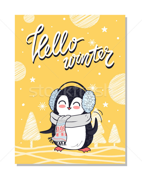 Hello Winter Bright Postcard Vector Illustration Stock photo © robuart