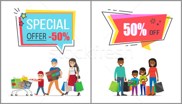 Special Offer with 50 Off for Family Shopping Stock photo © robuart