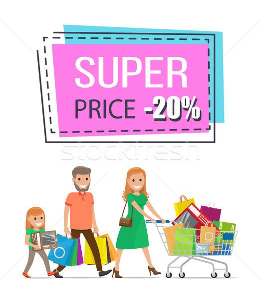 Super Price Promo Sticker Family Shopping Trolley Stock photo © robuart