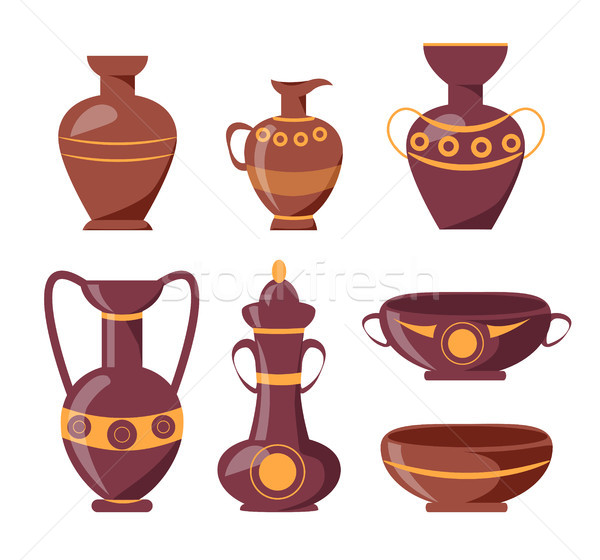 Ancient Clay Vases with Ethnic Ornaments Set Stock photo © robuart