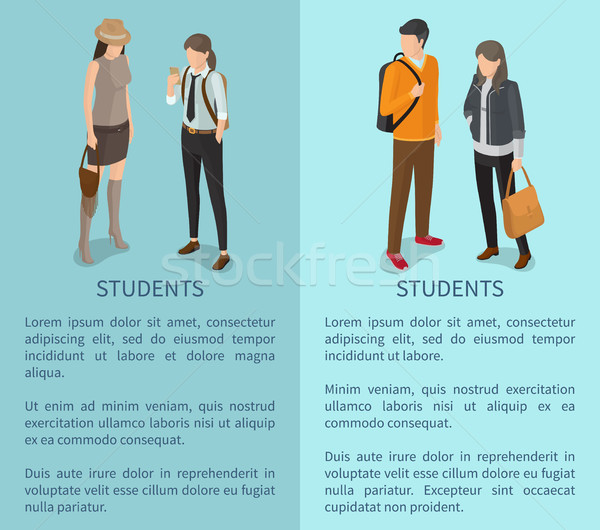 Students Collection of Posters Depicting Adults Stock photo © robuart
