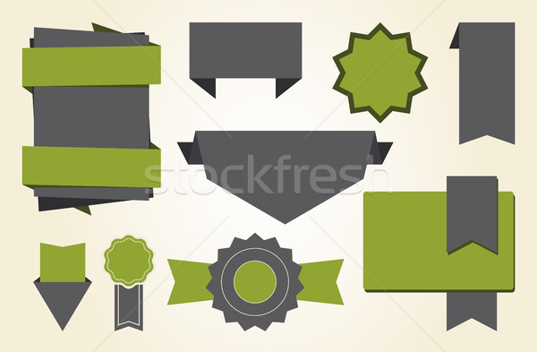 Stockfoto: Ingesteld · stickers · groene · verschillend