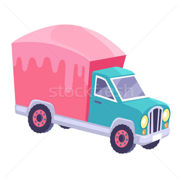 Cargo Truck with Glazed Container Cartoon Vector Stock photo © robuart