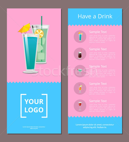 Stockfoto: Drinken · poster · plaats · logo · mojito · mint