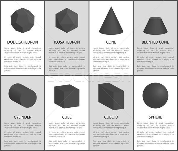 Nero set cono cilindro cubo sfera Foto d'archivio © robuart