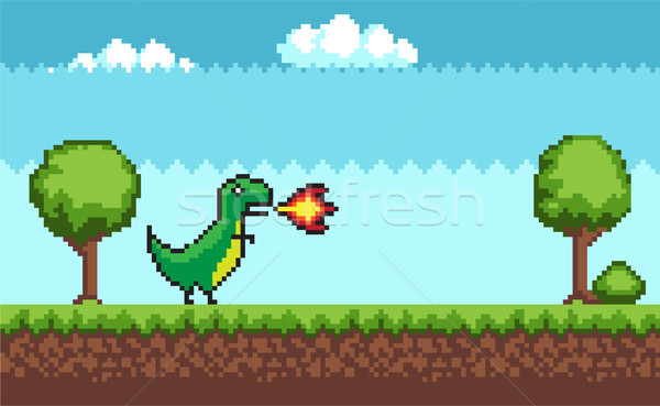 Pixel T-rex on Outdoor Walking Vector Illustration Stock photo © robuart