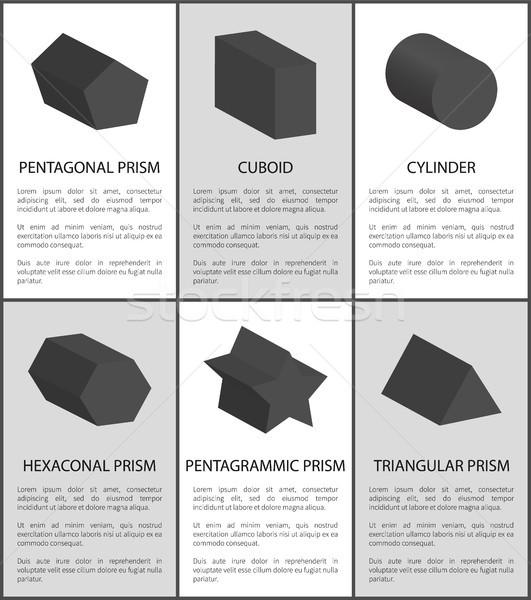 Pentagrammic Pentagonal and Hexagonal Prisms Set Stock photo © robuart
