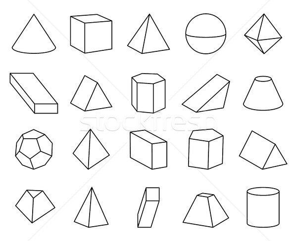 Cone and Pyramid Shapes Set Vector Illustration Stock photo © robuart