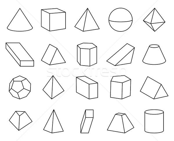 Kúp piramis formák szett poszter gyűjtemény Stock fotó © robuart