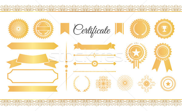 Photo stock: Certificat · étiquettes · or · signes