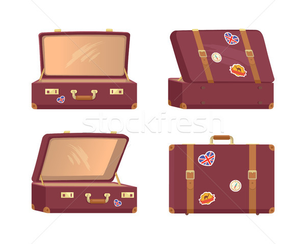 Leather Vintage Suitcases Open Closed Briefcases Stock photo © robuart