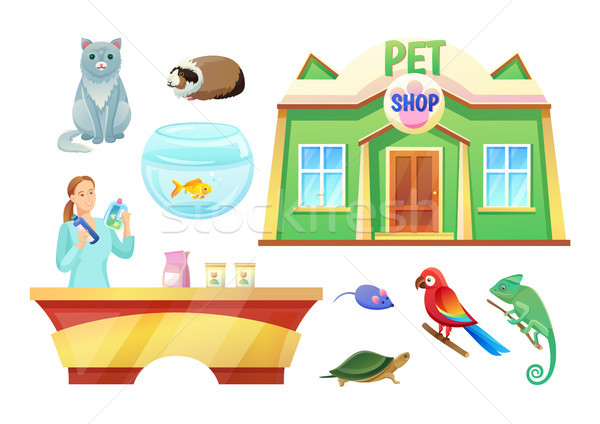 Pet Shop Animals and Girl at Check-Out Counter Stock photo © robuart
