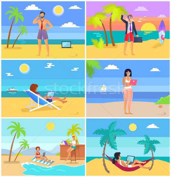 Zakenlieden zomervakantie posters ingesteld vector illustraties Stockfoto © robuart