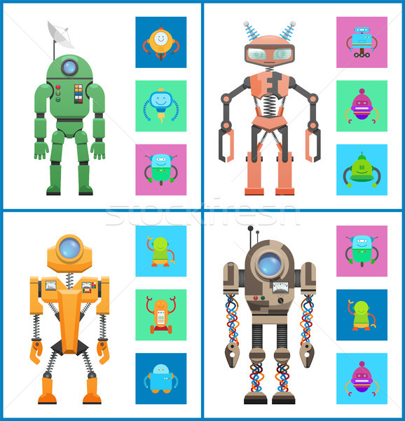 Stock photo: Robot Set Images Collection Vector Illustration