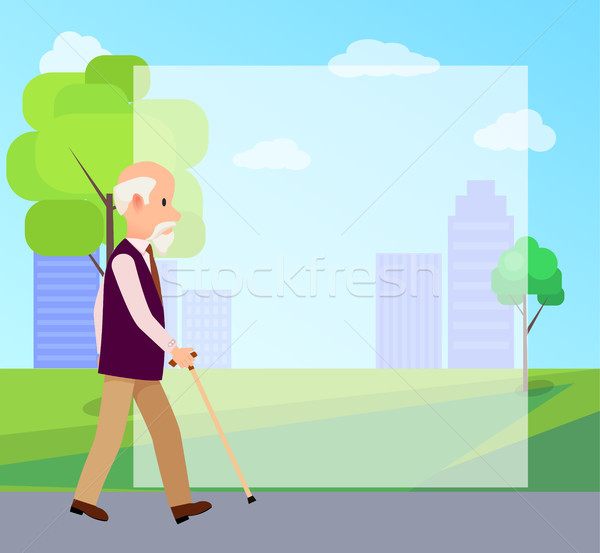 Senior Man with Walking Stick in City Park Poster Stock photo © robuart