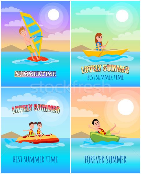 Zomertijd collectie zomer posters het windsurfen spelevaren Stockfoto © robuart