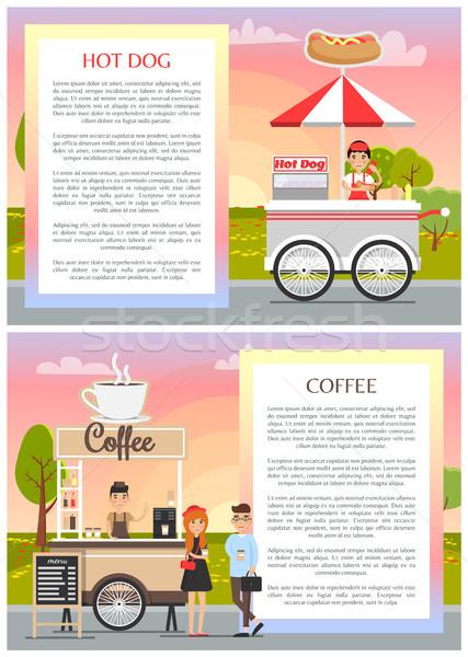 Cachorro-quente café bonitinho móvel comida lojas Foto stock © robuart