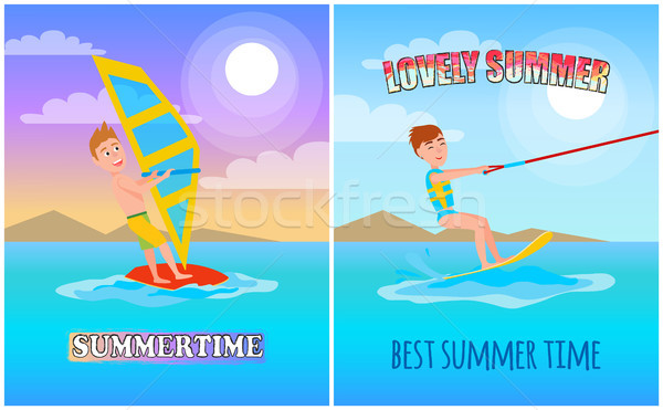 Lovely Summer, Best Time Color Vector Illustration Stock photo © robuart