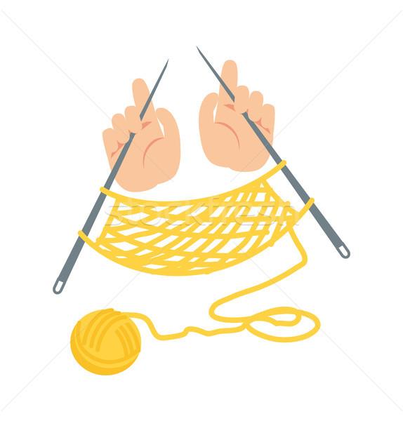 Nagyi kezek teremtés szövet folyamat szalag Stock fotó © robuart