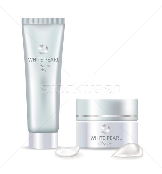 White Pearl Day Cream in Big Tube and Jar Set Stock photo © robuart