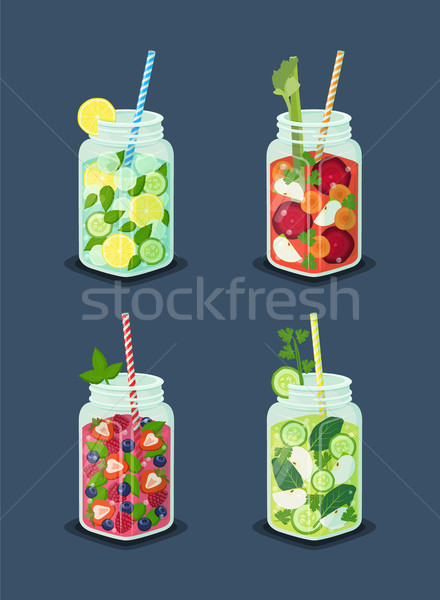 Beverages for Dieting Set Vector Illustration Stock photo © robuart