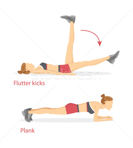 Flutter Kicks and Plank Set Vector Illustration Stock photo © robuart