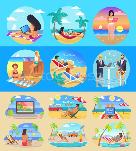Szabadúszó munkások laptopok egzotikus tengerpartok szett Stock fotó © robuart