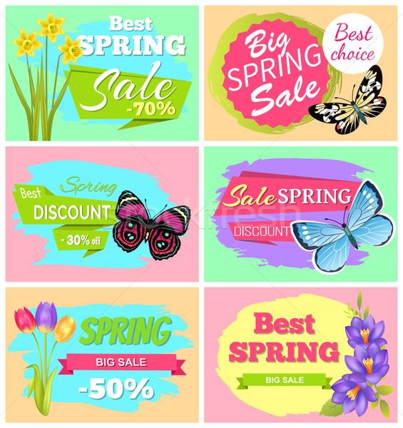 ストックフォト: ビッグ · 春 · 販売 · セット · バナー · 蝶