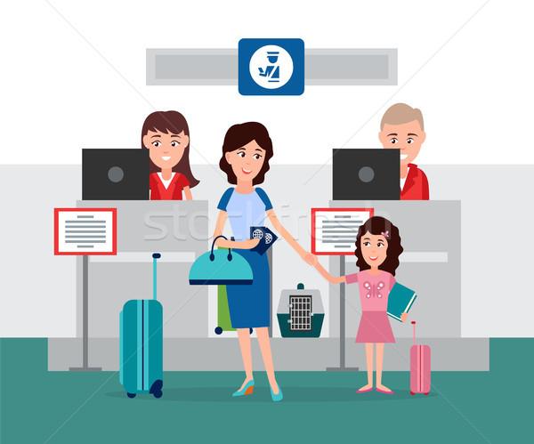 Bagaglio passaporto controllo counter lavoro persone Foto d'archivio © robuart