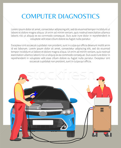 Computer Diagnostics Poster Vector Illustration Stock photo © robuart