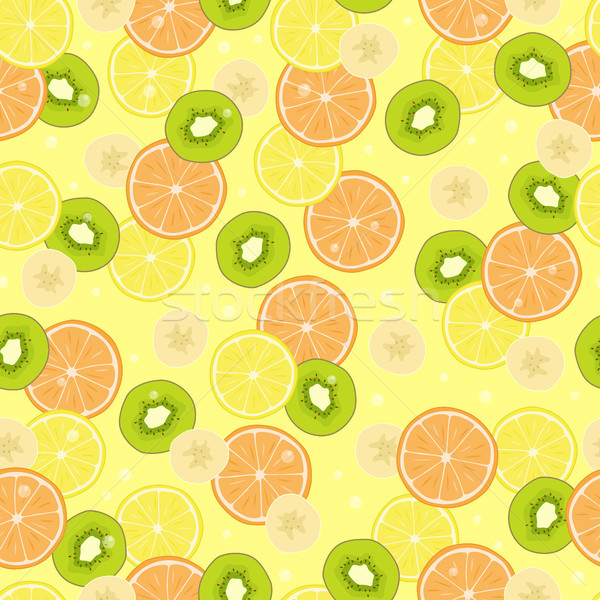 Seamless Pattern with Citrus Fruits, Banana Pieces Stock photo © robuart