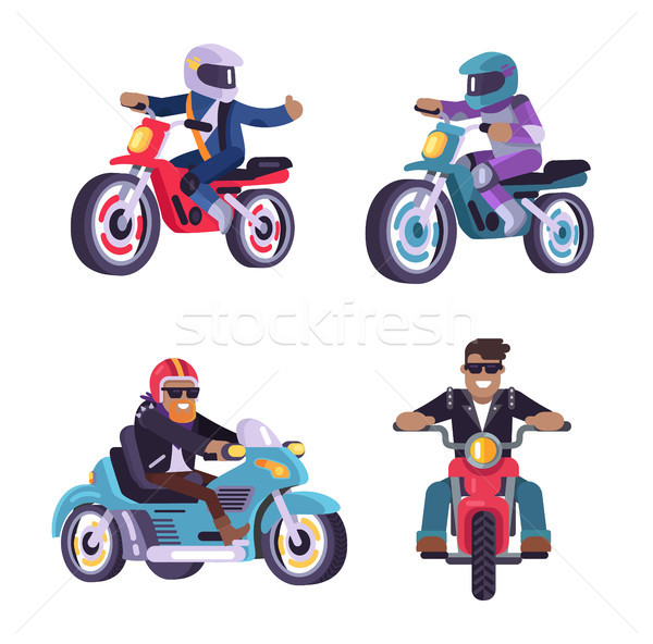 Collection of Motorized Bikes Racers Men Isolated Stock photo © robuart