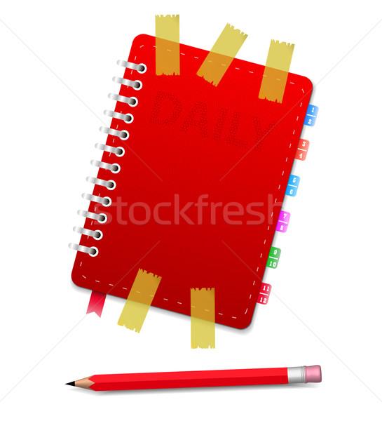 Kişisel organizatör kırmızı kalem iş kâğıt Stok fotoğraf © robuart