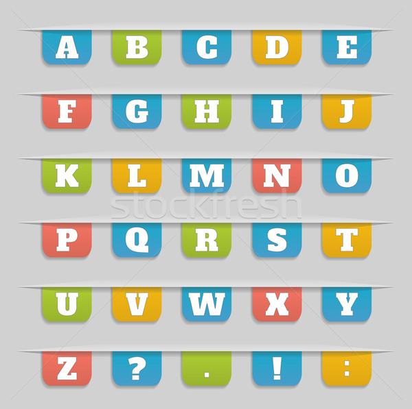 Szett könyvjelzők matricák címkék címkék ábécé Stock fotó © robuart