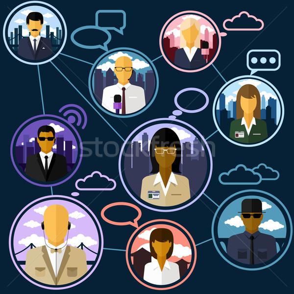 Nieuws journalist microfoon ontwerp teleconferentie verschillend Stockfoto © robuart