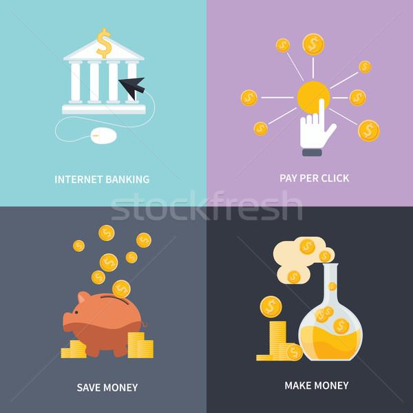 Internet bankügylet gyártmány pénz megtakarítás üzlet Stock fotó © robuart