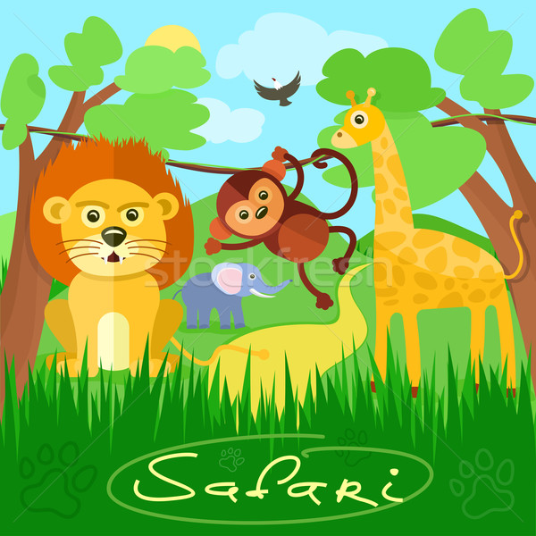Cute africaine animaux de safari Safari cartoon Photo stock © robuart
