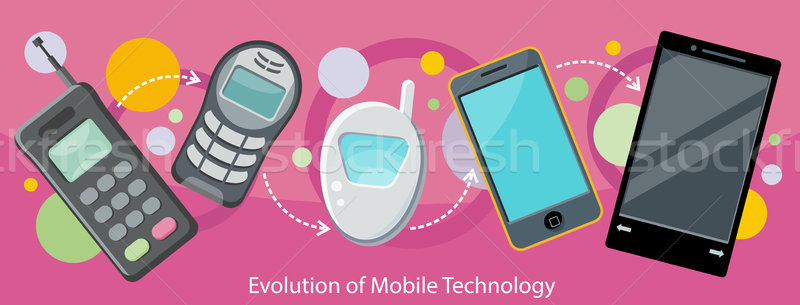 Evolution of Mobile Technology Design Flat Stock photo © robuart