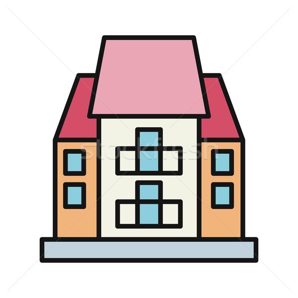 Casa icono blanco inmobiliario pequeño aislado Foto stock © robuart