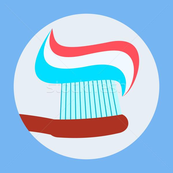 Escova de dentes creme dental ícone projeto dental isolado Foto stock © robuart