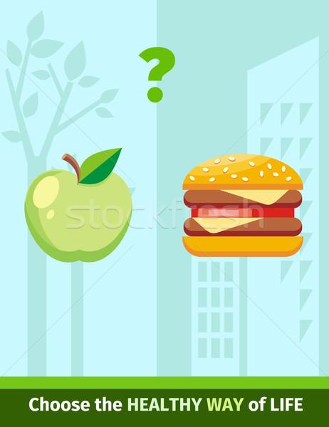 Elma Burger gıda dizayn sağlıklı beslenme hamburger Stok fotoğraf © robuart