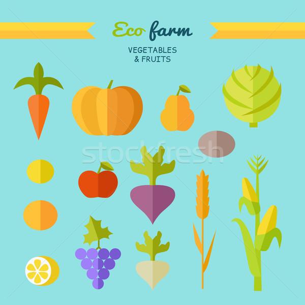 Foto d'archivio: Eco · farm · vettore · stile · design · set