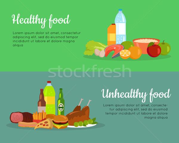 Saudável alimentos não saudáveis bandeira cartaz banners dieta Foto stock © robuart