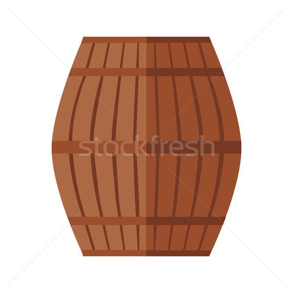 Fából készült hordó ikon bor acél gyűrű Stock fotó © robuart
