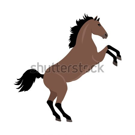 Rearing Sorrel Horse Illustration in Flat Design Stock photo © robuart