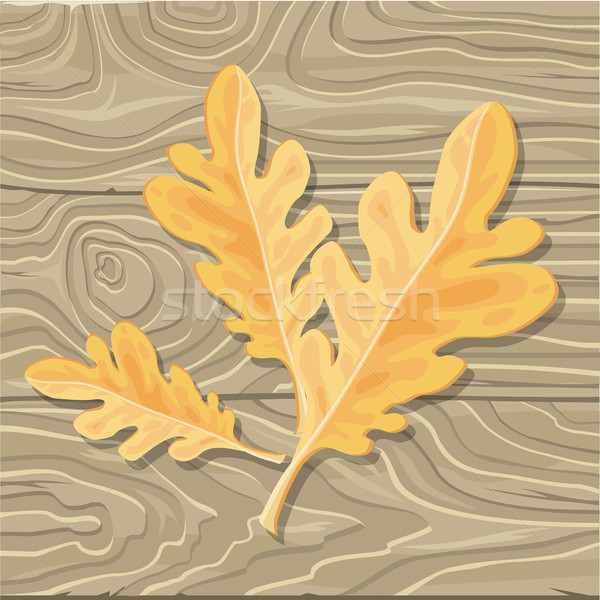 Oak leaf on Wooden Background Vector Illustration Stock photo © robuart