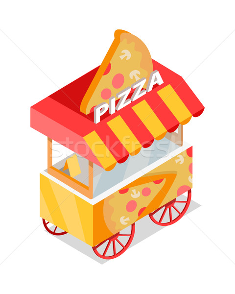 Pizza Trolley Store Isometric Vector Icon. Stock photo © robuart