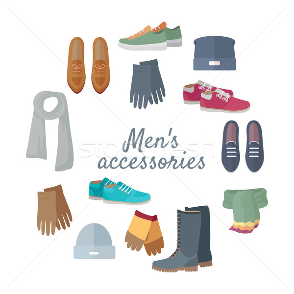 Man s Accessories Vector Concept in Flat Design Stock photo © robuart