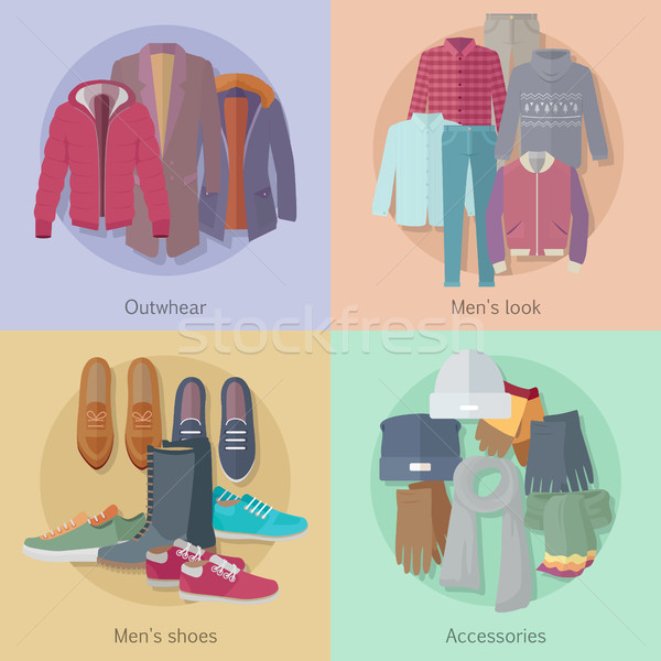 Men s Clothing. Outerwear. Mens Look. Mens Shoes. Stock photo © robuart