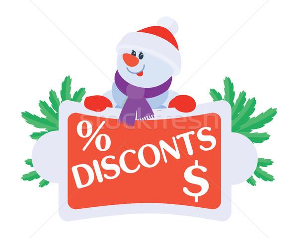 Legjobb ár hóember vásár poszter ajánlat matrica Stock fotó © robuart